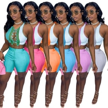 Summer Women Patchwork Two Piece Set Sexy Deep V Neck Bandage Lace Up Crop Top And Casual Shorts Hol
