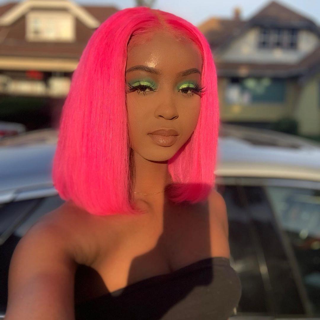Dark Pink Bob Rose Red Brazilian Human Hair Lace Front Wig Straight Short Bob Wigs for Women 180 Density