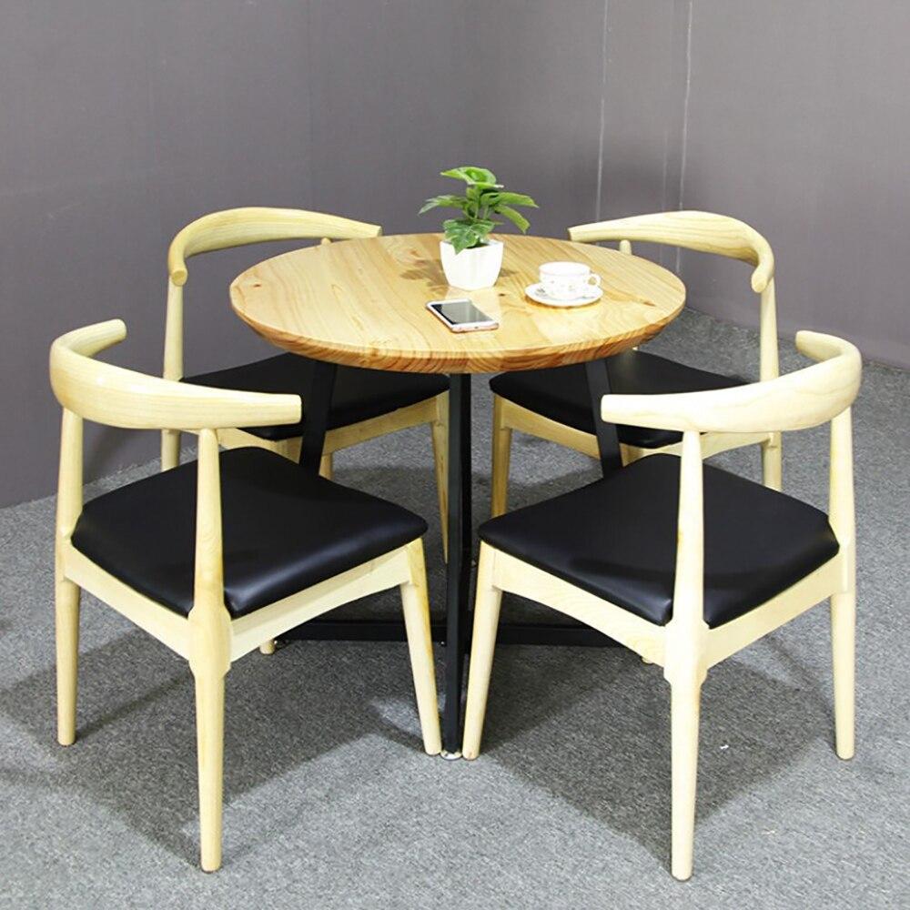 Mesa de comedor de madera sólida nórdica, mesa de comedor de hierro simple para restaurante, cafetería, restaurante, mesa redonda, mesa creativa para restaurante