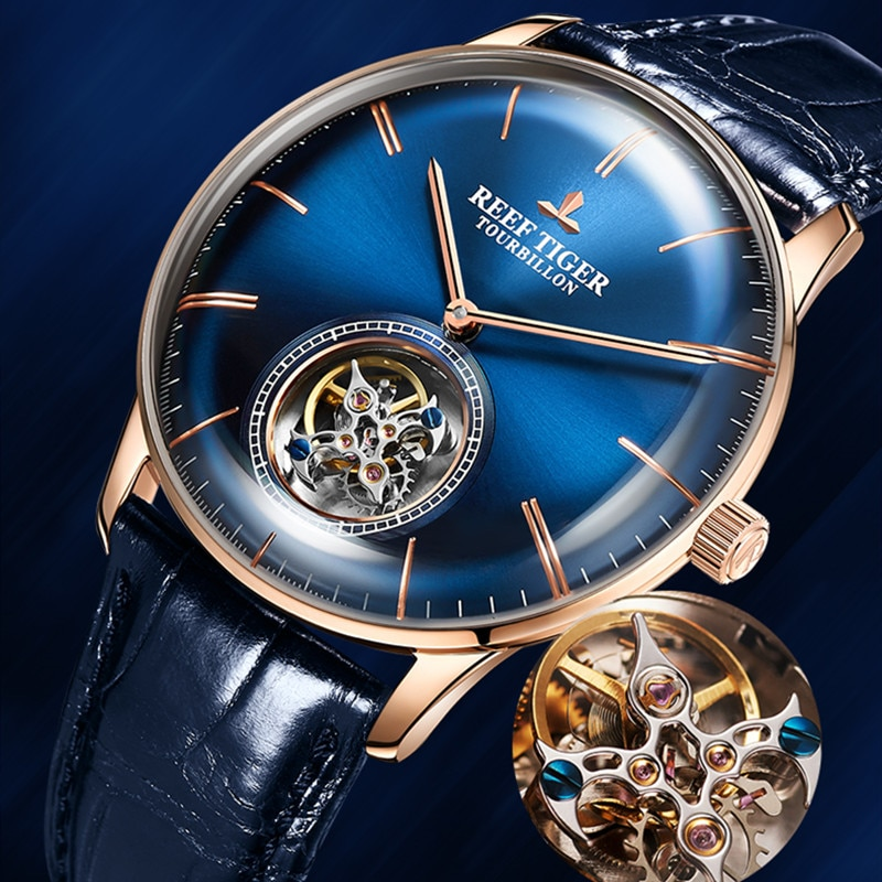 Reef Tiger/RT Blue Luxury Tourbillon Watch Men Automatic Mechanical Genuine Leather Strap Male Watches Relogio Masculino RGA1930