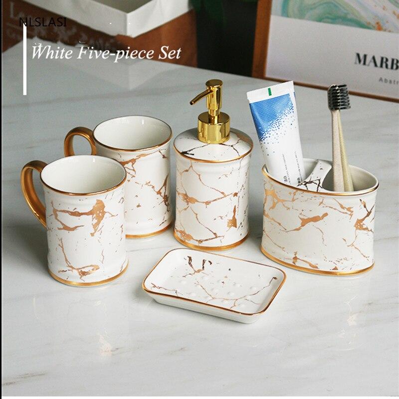 High-grade Frosted marble stripes Ceramics Five-piece Set Wash Tools Soap Dispenser Gargle cup Holder Bathroom Accessory Set enlarge