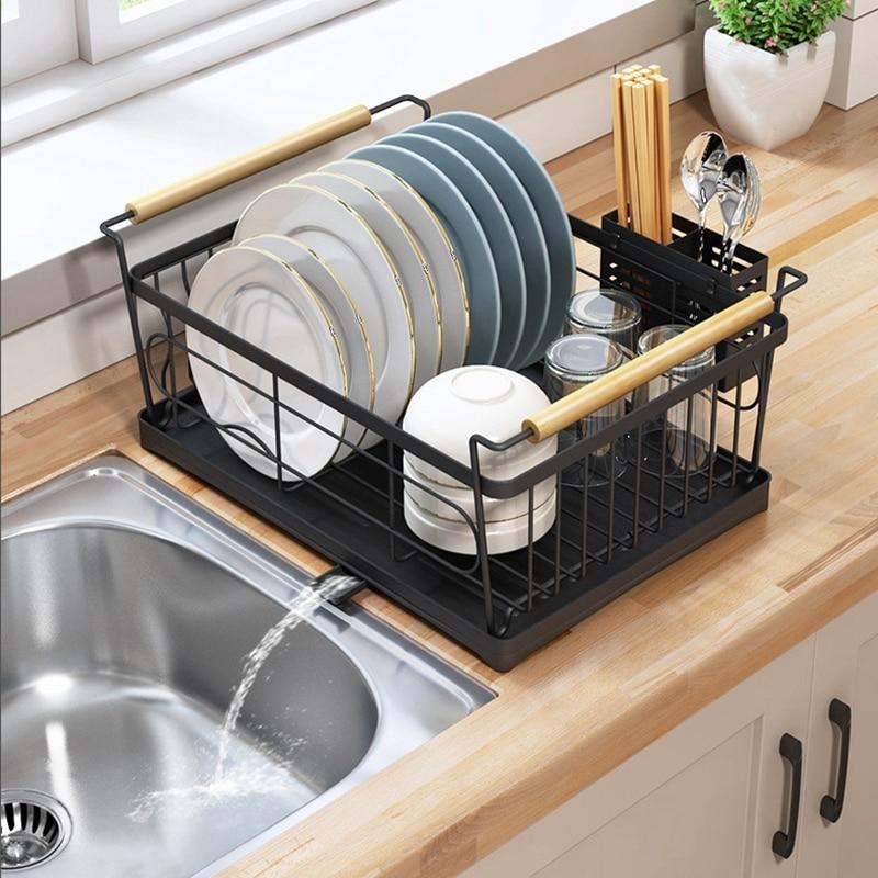 طوي طبق رف المطبخ تخزين حامل تجفيف السلطانية أدوات المائدة لوحة المنزل الجرف أواني الطعام المنظم