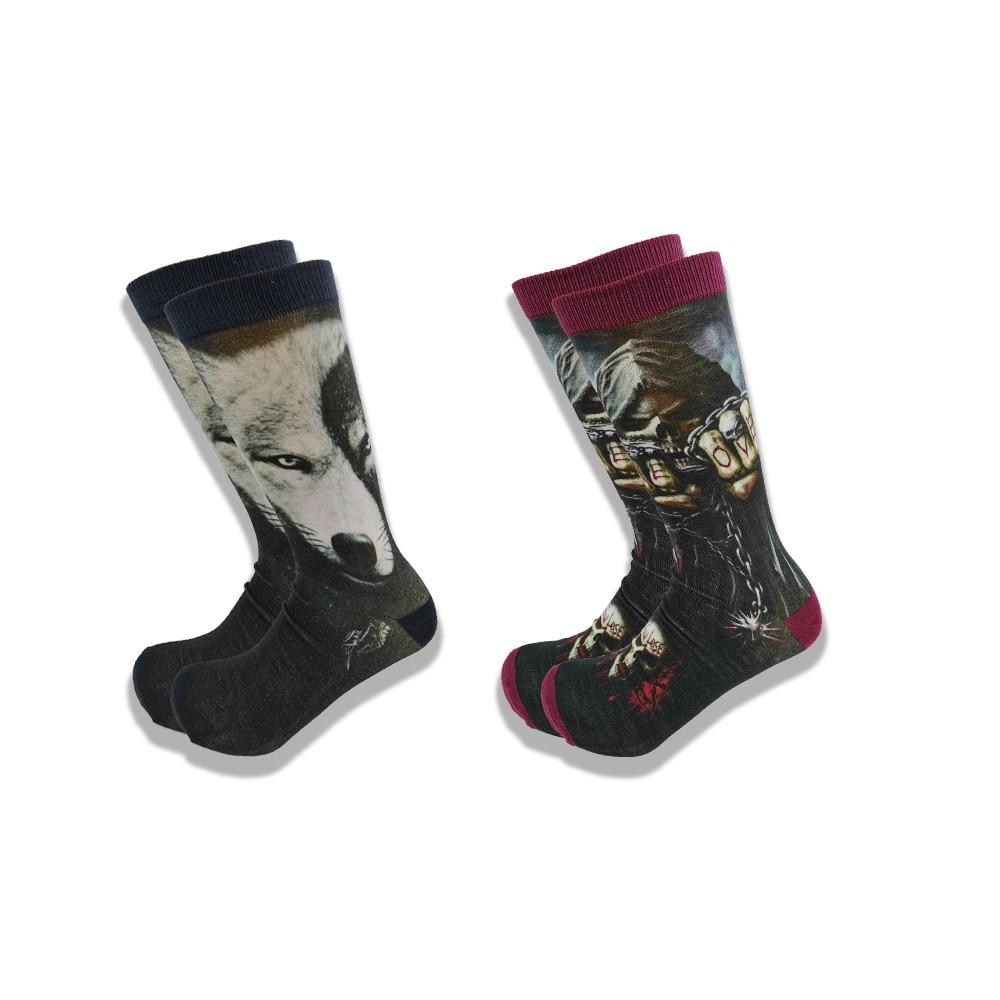 Пара осенне-зимних мужских носков в стиле оверсайз, высококачественные удобные носки средней длины с изображением животных и фильмов ужасо...
