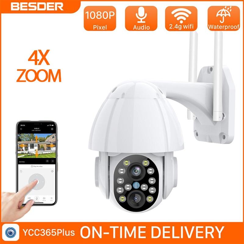 BESDER 1080P de doble lente Auto-seguimiento de velocidad cámara domo Wifi de Audio IP Cámara del CCTV seguridad al aire libre 2MP 4x Zoom con ranura para tarjeta SD