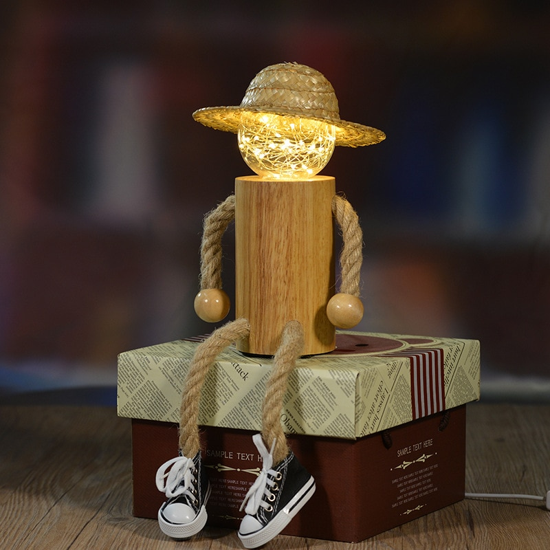 Светодиодный ночник, новинка, необычный креативный подарок на день рождения, светильник s, деревянный шпагат, злодейский, питание от Usb, ночн...