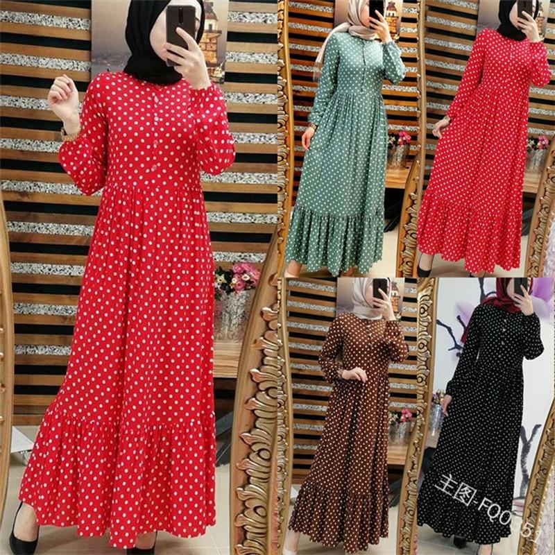 Caftan à pois grande taille Abaya dubaï Hijab robe musulmane Caftan Marocain robes turques Jilbab Abayas pour les femmes vêtements islamiques