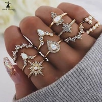 new rings set boho vintage gold geometric joint ring set for women white water drop snowflake ring party jewelry girlfriend gift