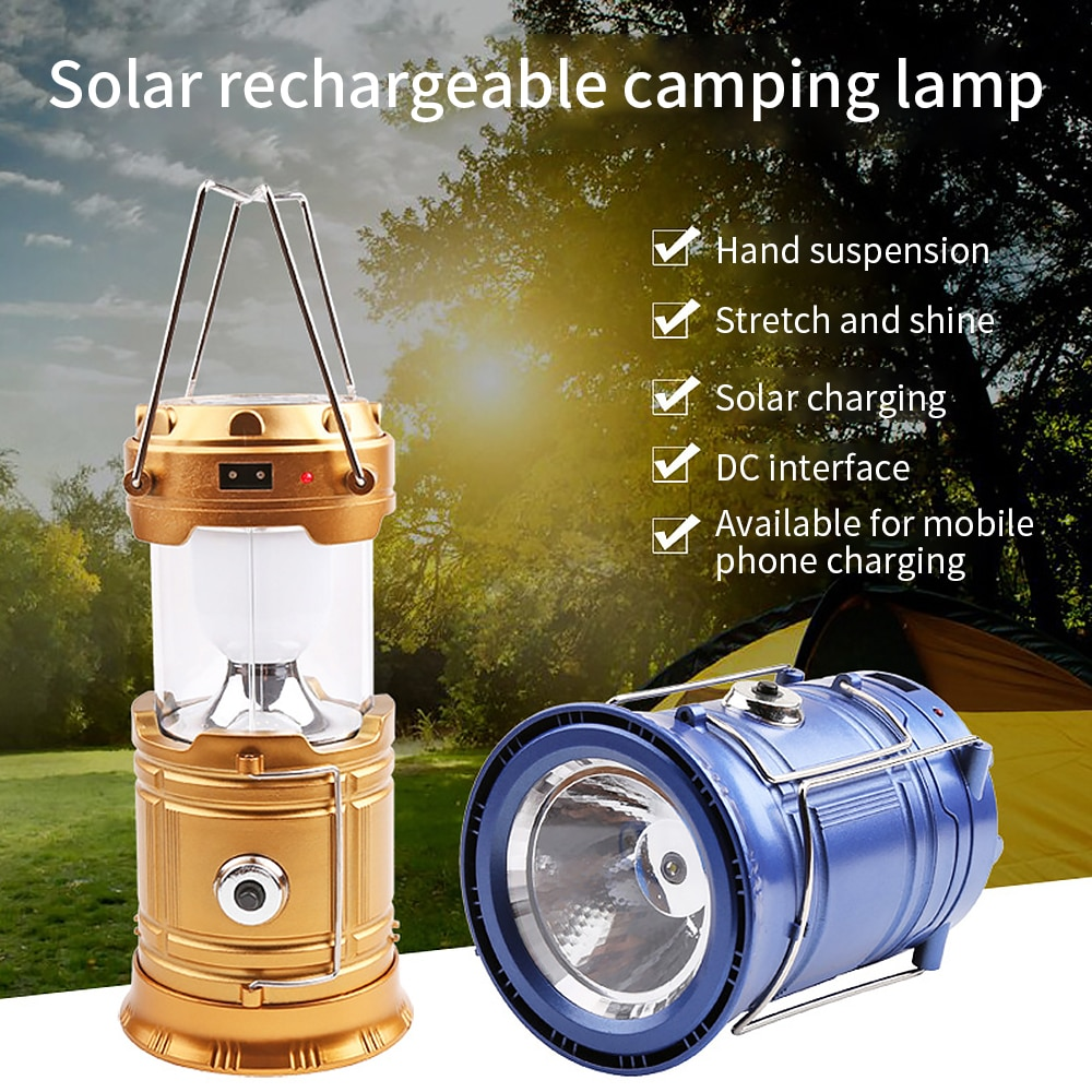 Portable Solar Power Rechargeable Camping Lamp Flame Lamp Lantern Flashlight Retractable Emergency Lighting For Camping Outdoor camping light rechargeable lamp portable lantern flashlight for camping tent with solar battery led solar lantern