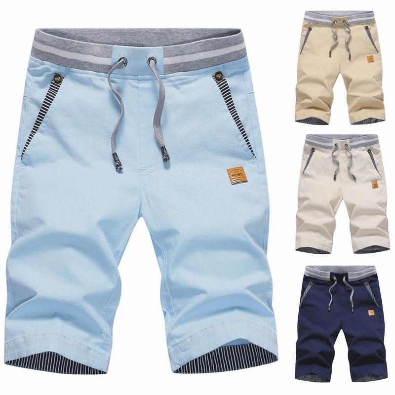 Шорты мужские летние на резинке, Модные Стильные пляжные короткие штаны, повседневные однотонные, 4XL