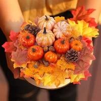 simulation hallowee decor artificial mini pumpkin gourd acorn berries maple leaf fake pumpkin diy craft fall harvest decor props