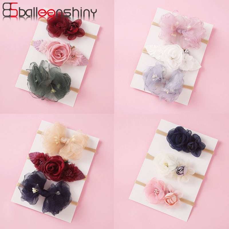 Balleenshiny 3 pçs flor macia bandana para crianças moda floral bebê menina bandana infantil da criança faixa de cabelo headwear foto adereços