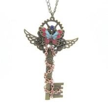 Rétro collier personnalité bricolage papillon engrenage chaîne reliure porte-clés Steampunk pendentif Simple et élégant accessoires délicats