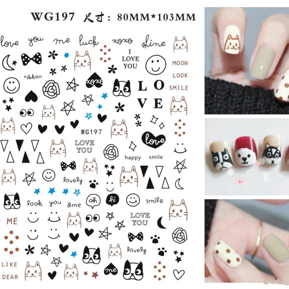 Новинка, WG197, мультяшный дизайн, 3D наклейки для дизайна ногтей, наклейка, штамповка, задняя часть, инструменты для украшения ногтей своими ру...