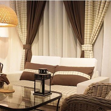 Moderno simples estilo moderno fio-tingido xadrez bordado forro de algodão e linho cortina de tecido