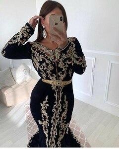 Moroccan Caftan Evening Dresses Embroidery Appliques Muslim Prom Dresses Jacket Kaftan Arabic Party Dress