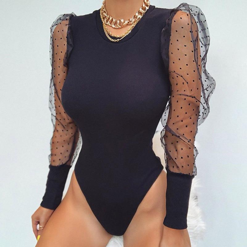 Malha retalhos sexy bodysuit feminino corpo terno primavera transparente puff manga bodysuits feminino 2020 outono polka dot lady catsuit