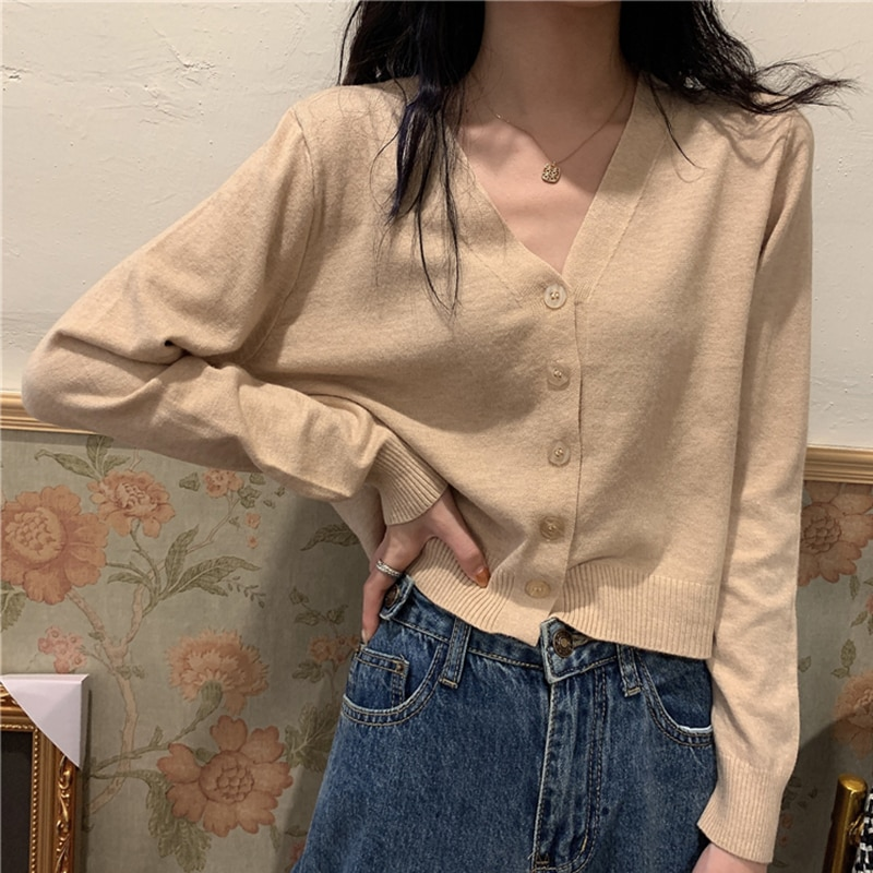V-Neck Long Sleeve Thin Sweaters Cardigan Woman Korean Fashion Casual Casaco Feminino Solid Knitted Shirt All Match Slim Tops