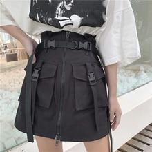Gothic A-Line Zipper Women Mini Cargo Skirts Pockets Bodycon Solid Ladies Summer Harajuku Sexy Female Sashes Mini Short Skirt