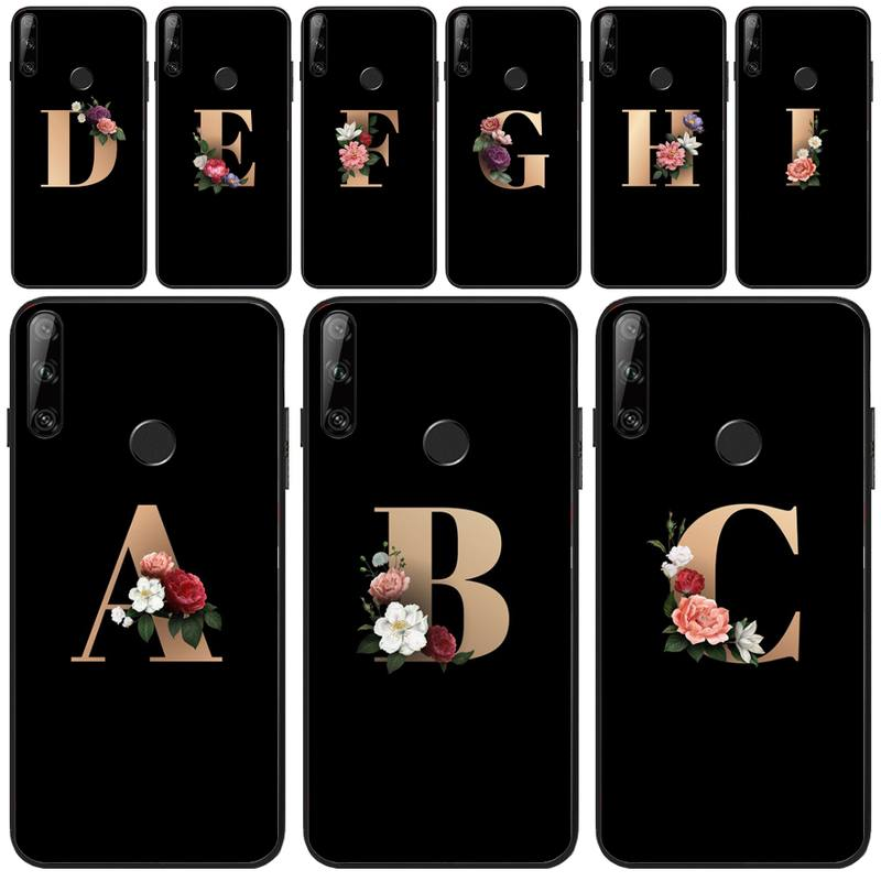 Lovebay Custom Initial Letter Black TPU Soft Phone Case For Huawei Y5 Y6 Y7 Y9 Prime Pro II 2019 2018 Honor 8 8X 9 lite View9
