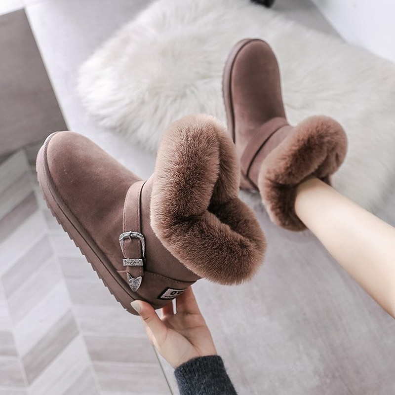 2022 Winter Snow Boots Woman Shoes New Women Ankle Boot Fashion Plus Size Flat Booties Suede Ladies