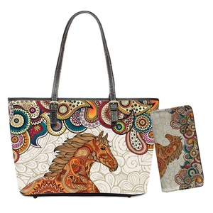 Leisure Women Handbags African Style Mandala Horse Print PU Leather Shoulder Bags for Ladies Shopping Purses Totes
