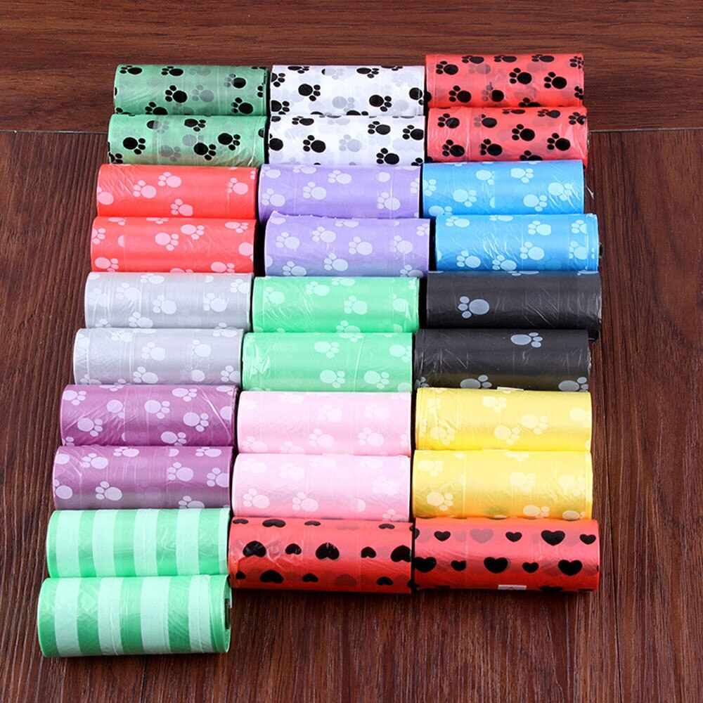 10 rollos = 150 Uds pata perro Bolsa para popó bolsas de caca de mascota Bolsa para popó de perro gato residuos recoger bolsa limpia para cachorro perros Color al azar productos para mascotas