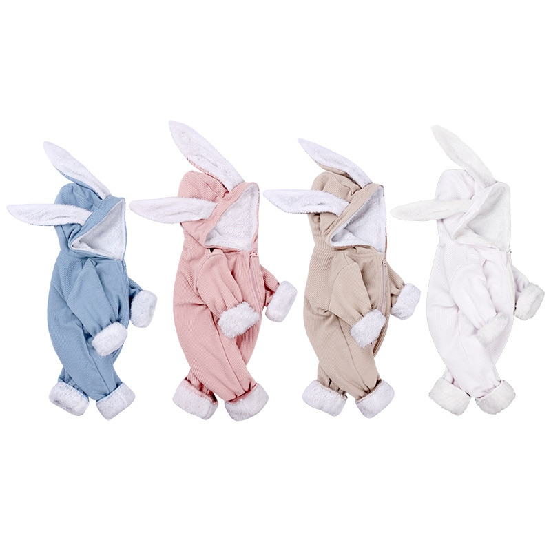 Moda invierno 2019, pelele para bebé recién nacido, pelele grueso y cálido de terciopelo para bebé, Pelele de conejo para niña, ropa de abrigo acanalada de algodón para bebé