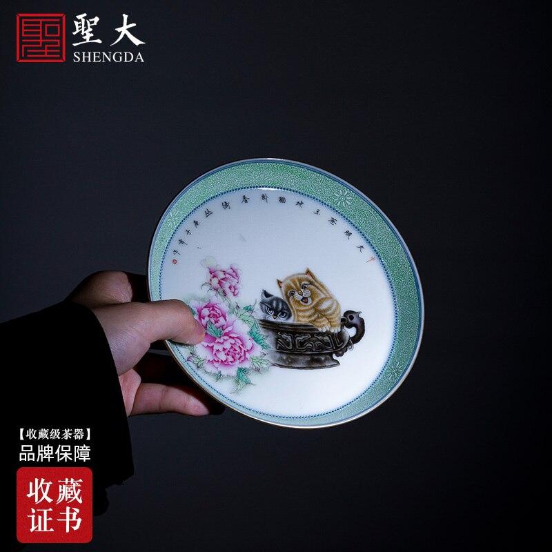 وعاء تحمل الثقيلة الأرض متفوقا الملونة المينا الزباد القط على صينية الشاي الحلو من جينغدتشن الشاي قطع للصيانة باليد