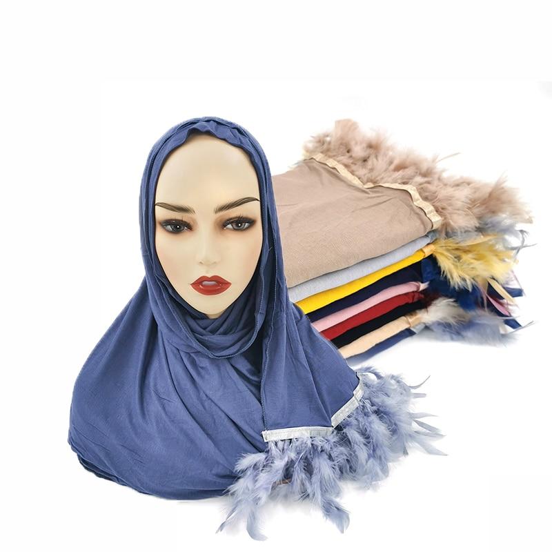 Soft Feather Tassel Jersey Hijab Scarf Women Muslim Hijabs Solid Color Fringe Scarves Long Shawls Female Islamic Turban Foulard