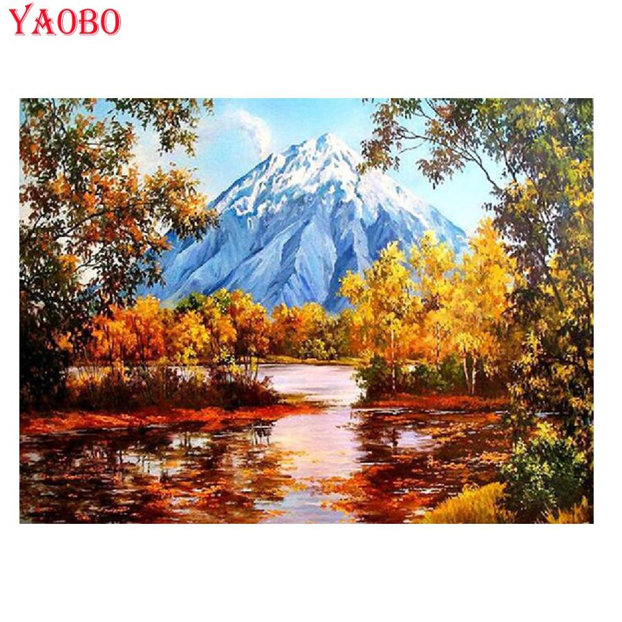 Paisaje de montaña de árboles de bosque de otoño completo, bordado de diamantes, pintura de diamantes diy 5D, punto de cruz, mosaico de diamantes, arte de decoración del hogar