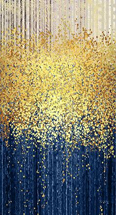 More style Abstract Blue Golden Dots Art Film Print Silk Poster Home Wall Decor 24x36inch