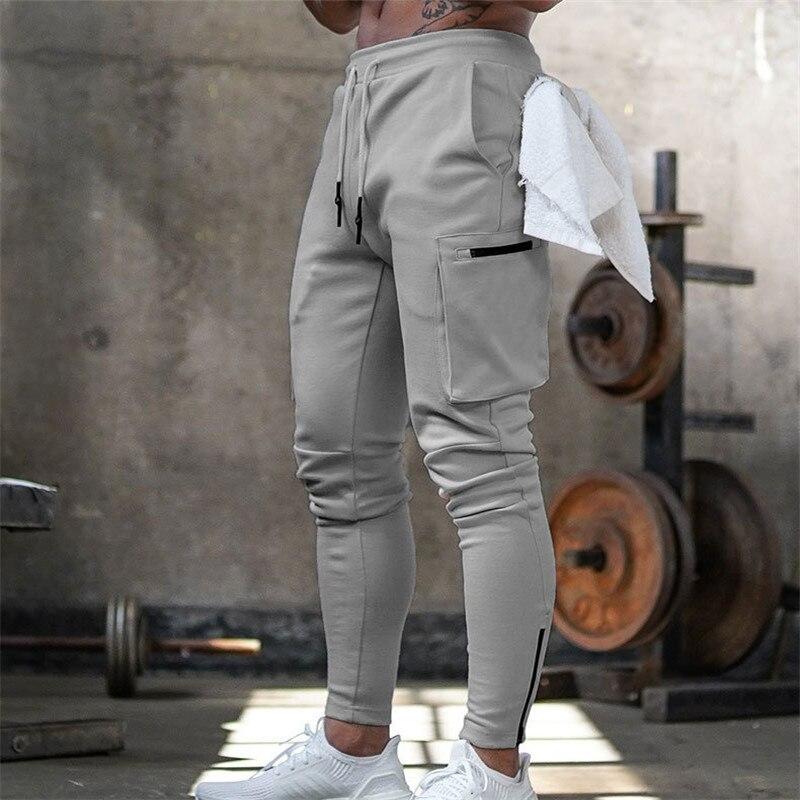 Pantalones de chndal para hombre... Pantaln de algodón seré para gimnasio Fitness...