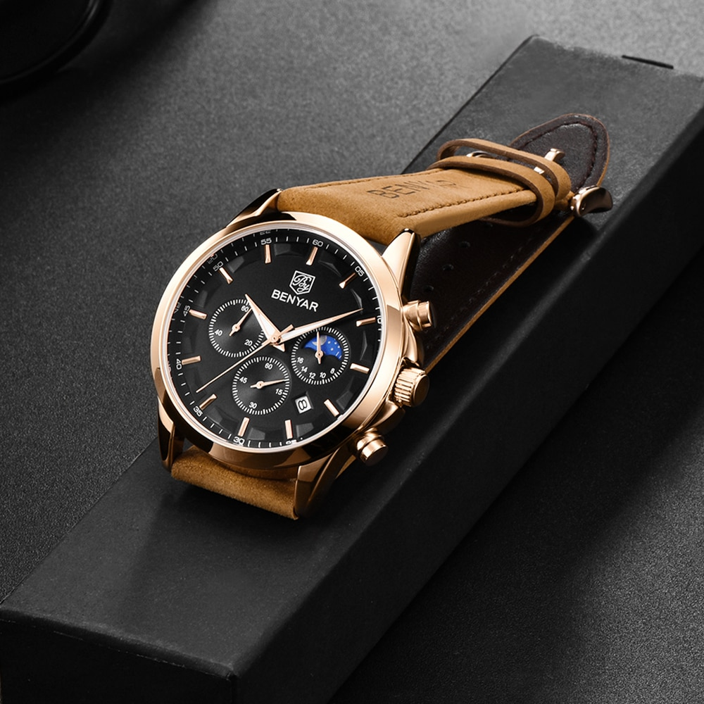 BENYAR 2021 New Luxury Men Quartz Watches 30M Waterproof Leather Military Watches Casual Automatic W