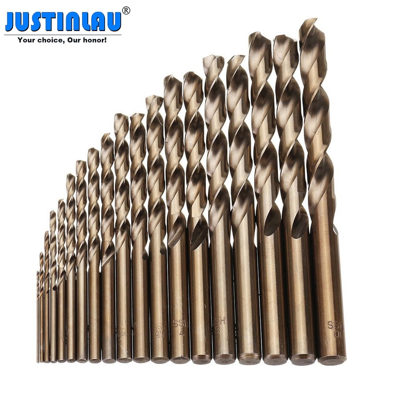 19pcs/set 1-10mm HSS-Co M35 Cobalt Straight Shank Twist Drill Bit Power Tools Accessories for Metal Stainless Steel Drilling