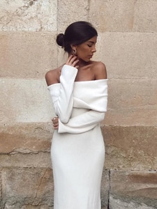 Woman Turtleneck Off the Shoulder White Long Sleeve Sweater Mid  Dress