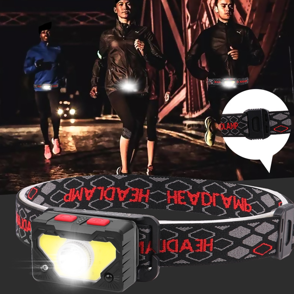 Headlamp USB Rechargeable Head Lamp Outdoor Running Fishing Head Lamp Waterproof LED USB Charging Torch for Camping