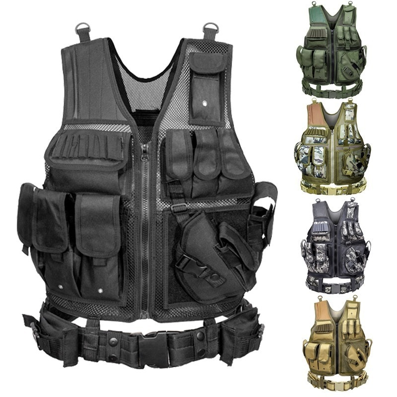 Tactical Vest Military Combat Armor Vests Mens Tactical Hunting Vest Army Adjustable Armor Outdoor CS Training Vest Airsoft недорого