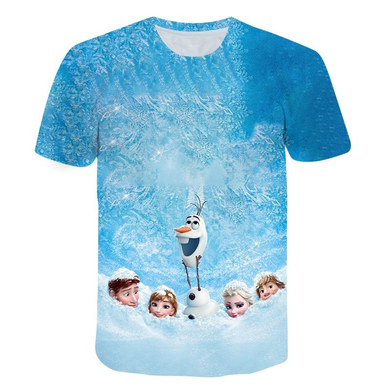 Летняя детская футболка с коротким рукавом и принтом «Холодное сердце»