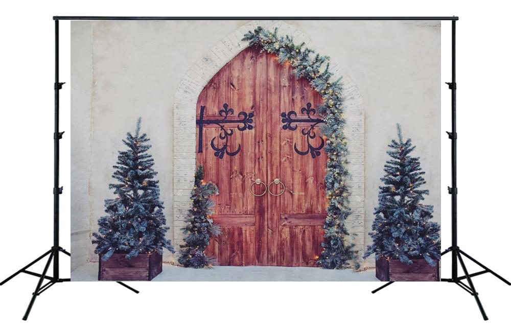 Familia bebé niña niño granja Navidad telón de fondo Vintage Noel pósteres de árboles arco puerta Rama de pino corona retrato fondo