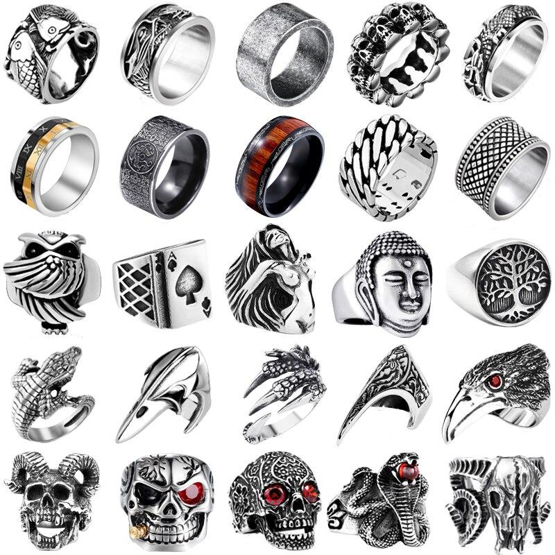 Anel do punk retro anel de cobra crânio masculino masculino anel de defesa totem lobo moda hip hop rock homem menino dedo anel presente
