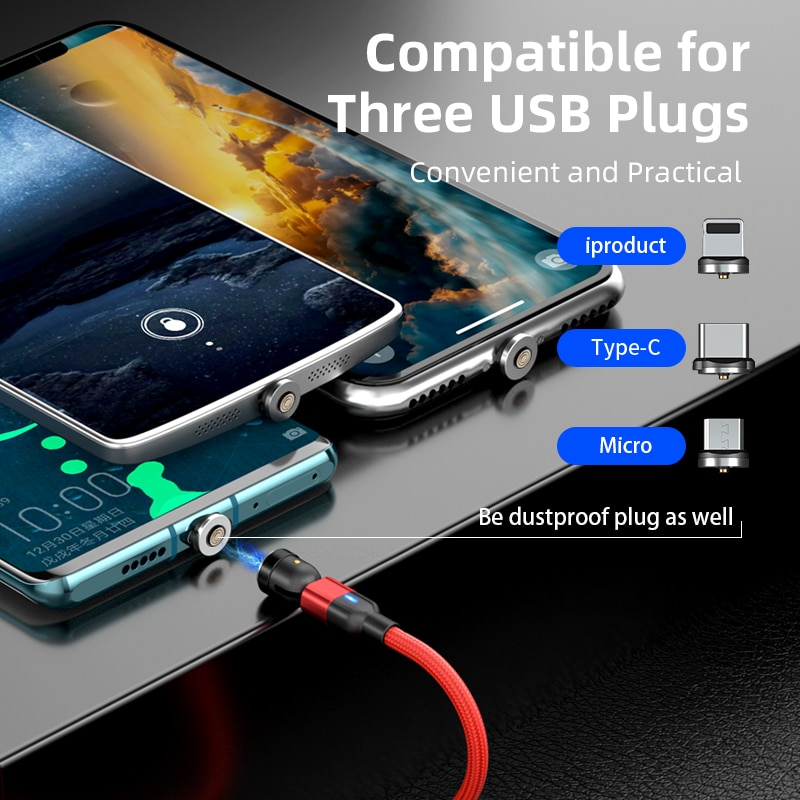 3A Fast Charging Cable Magnetic Plug 540 Rotate Magnet Charger For Iphone Xiaomi Samsung Micro Usb Type C USB Data Wire Cable