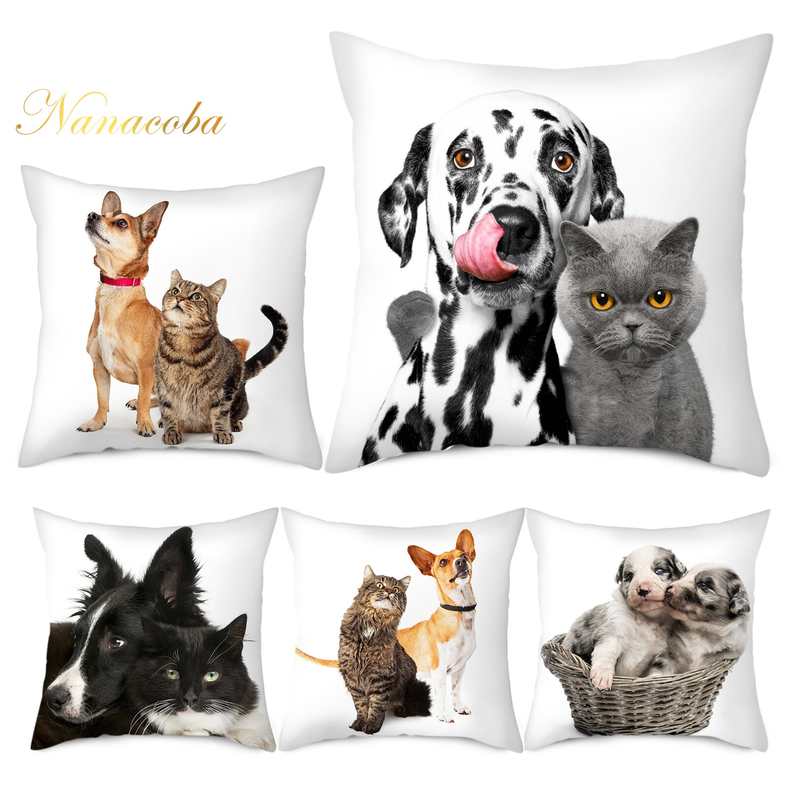 Cute Pet Cat And Dog Getting Along Well Decorative Animal Cushion Cover Sofa Home Couch Pillows Case Living Room Decoration