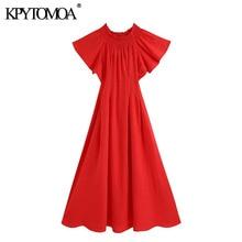 KPYTOMOA femmes 2020 Chic mode avec fléchettes dos smocké robe Midi Vintage large élastique cou à volants manches femmes robes Mujer