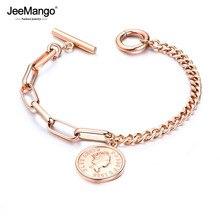 AENINE Retro Avatar Round Tag Charm Bracelet Elizabeth Coin Jewelry Titanium Steel Rose Gold Womens Bracelet JB18101