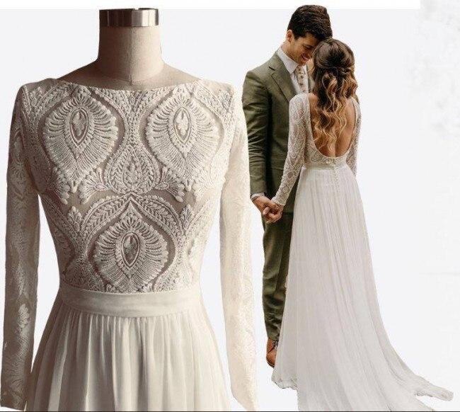#1306 صور حقيقية من قبل FANWEIMEI بالجملة البوهيمي فستان عروس فستان الزفاف