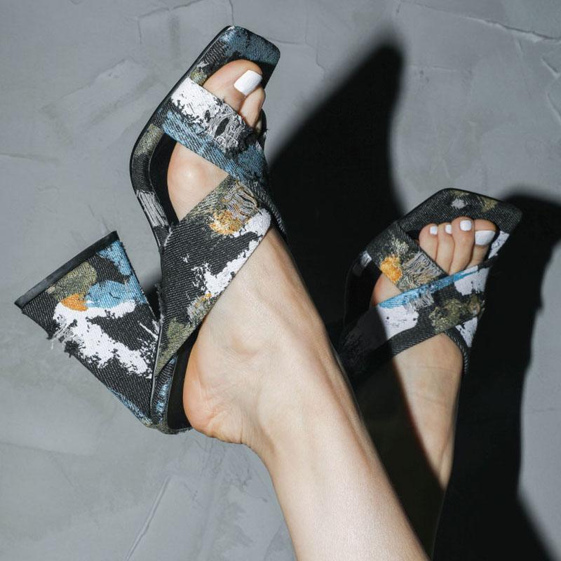 Slippers Ladies Summer Ladies Sandals 2021Outdoor Slippers High Heels Luxury Denim Sexy Women Shoes