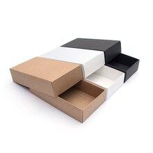 10 sztuk/pudełko na prezenty z papieru pakowego festiwal Party wykwintne puste karton biała czarna karta pudło do pakowania karton wspieranie drukowania logo