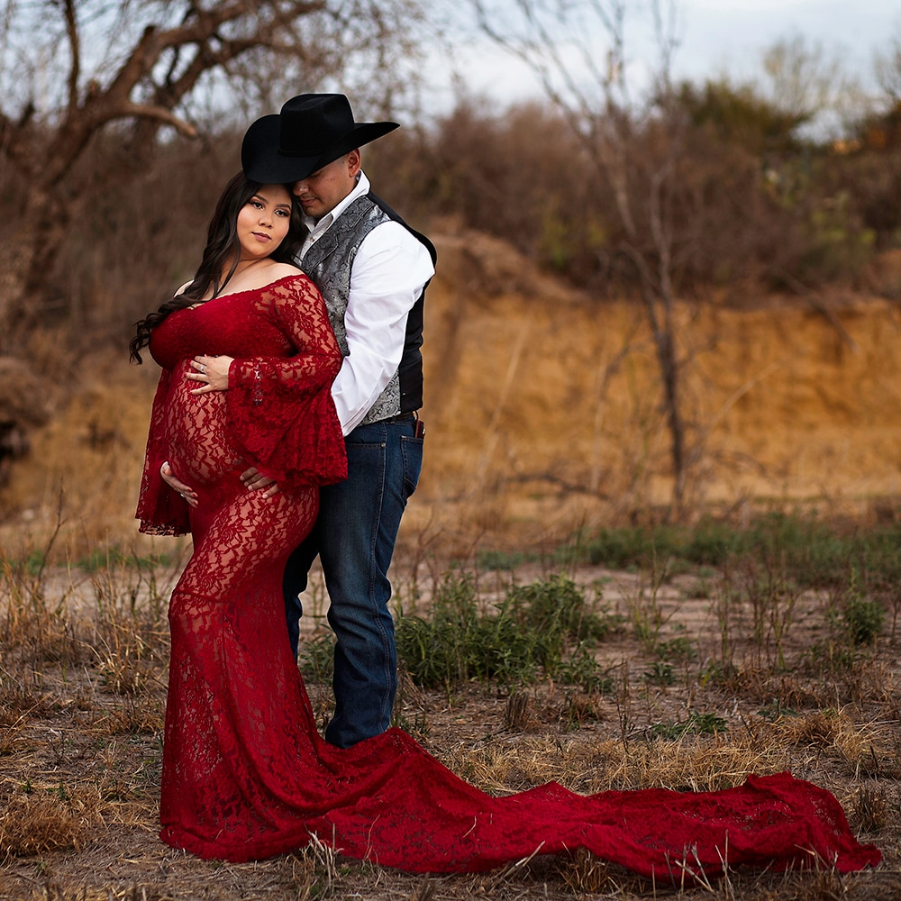 Don&Judy Pregnancy Dress for Photo Shoot Maternity Photography Props Sexy Lace Maxi Gown Dress Long Train Pregnant Women enlarge