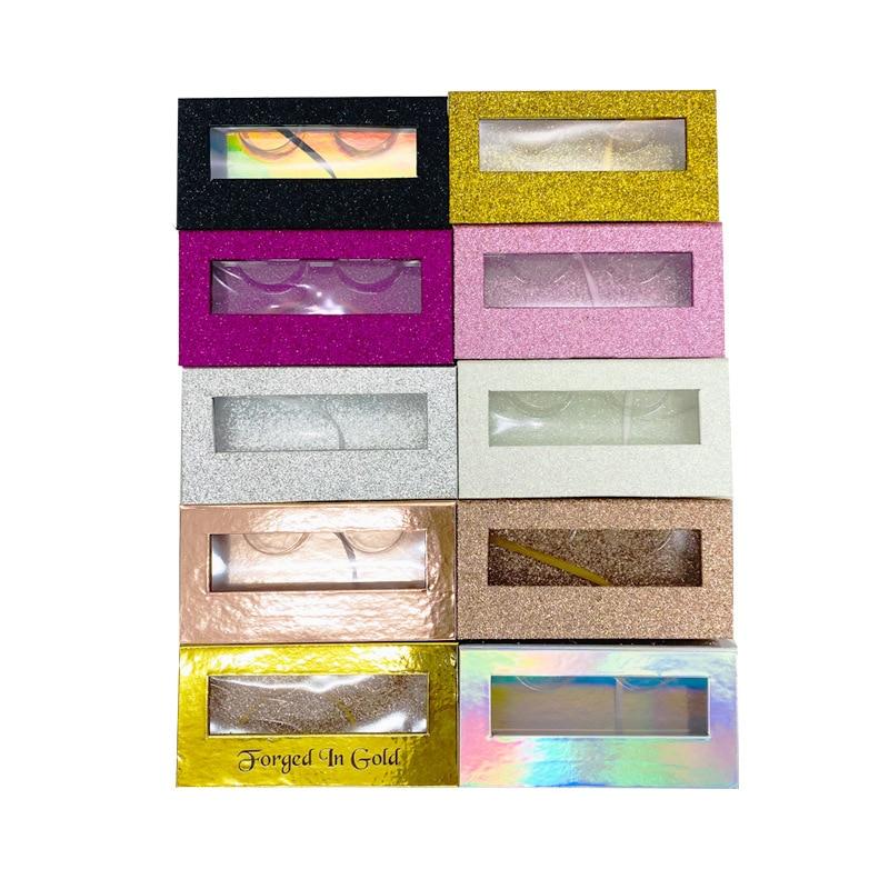 Caja de almeja de 50 uds, embalaje de pestañas con bandeja para Pestaña de visón, personalización de logotipo, venta al por mayor