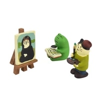 cat frog cute stationery bookshelf small picture scene props home decoration resin animal model